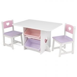 Kidkraft Heart Table & Chair Set with Pastel Bins