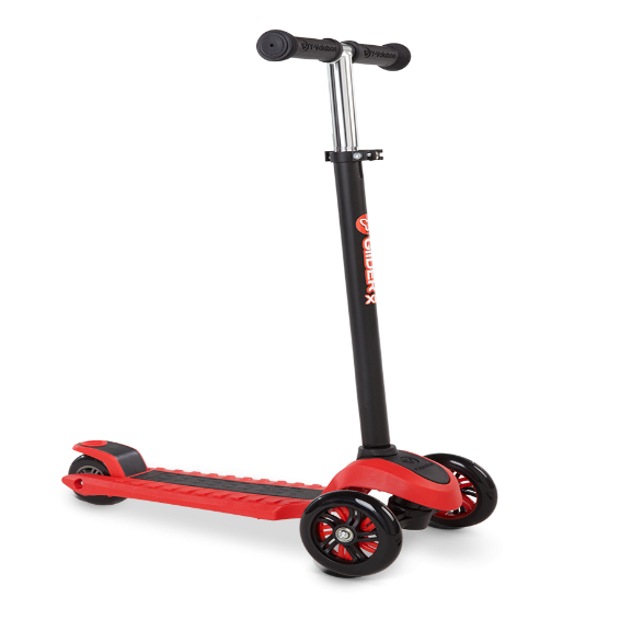YVolution Glider XL Scooter- Red. A step up on your way to becoming a scooter champion! The YVolution Glider XL Scooter is an evolution of the standard Y Glider and is loaded with cool features like adjustable handlebars and patented 'lean to steer' technology for more extreme cornering. Pull off crazy tricks and carve around the streets, then stomp the back brake and skid to a stop. Twice the load weight and adjustable handlebars makes this a no-brainer for kids who want a scooter that will keep up with them wherever they go!