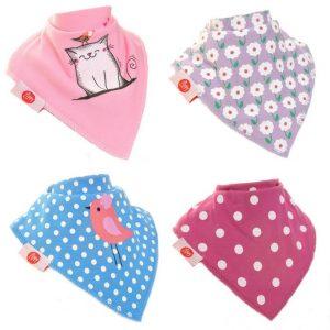 Zippy Baby Girl Bandana Dribble Bibs 4 Pk Cat & Bird