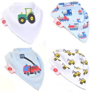 Zippy Baby Boys Bandana Dribble Bib 4 pack Brum Brum!