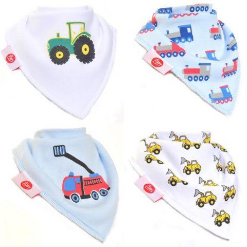 Zippy Baby Boys Bandana Dribble Bib 4 pack Brum Brum!