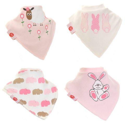 Zippy Baby Girl Bandana Dribble Bib 4 pack Cute