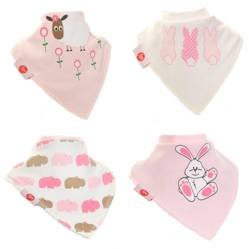 Zippy Baby Girl Bandana Dribble Bib 4 pack Cute