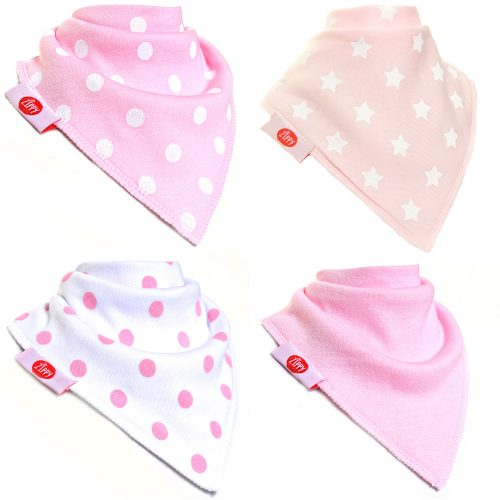 Zippy Baby Girl Bandana Dribble Bib 4 pack Pink White