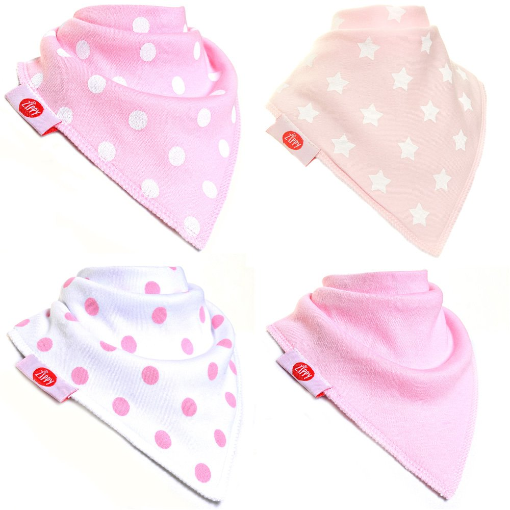 Zippy Baby Girl Bandana Dribble Bib 4 pack Pink White