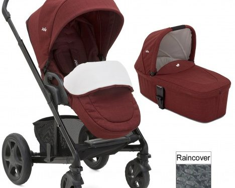 Joie Chrome DLX pushchair carrycot cranberry