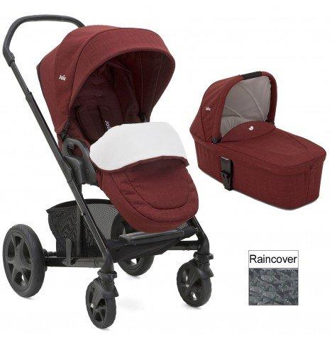 Joie Chrome DLX pushchair carrycot cranberry