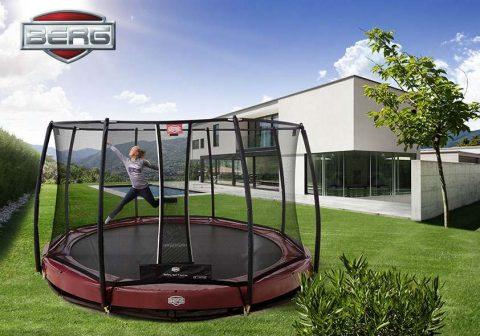 BERG Elite inground trampoline with safety t series net