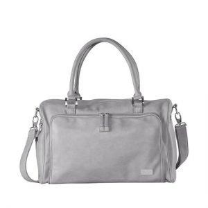 isoki double zip nappy bag port sea grey
