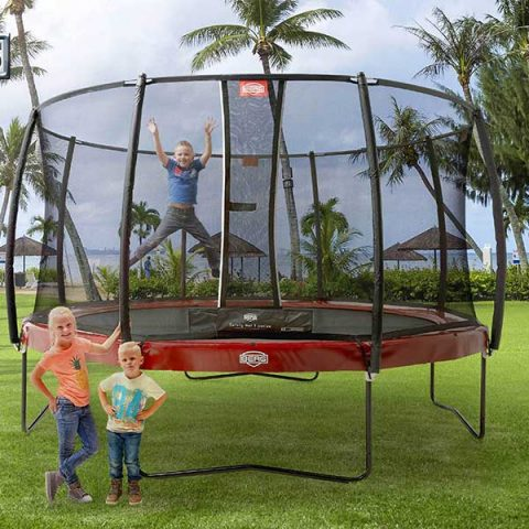 BERG Elite Regular Trampoline with Deluxe Safety Net - Red