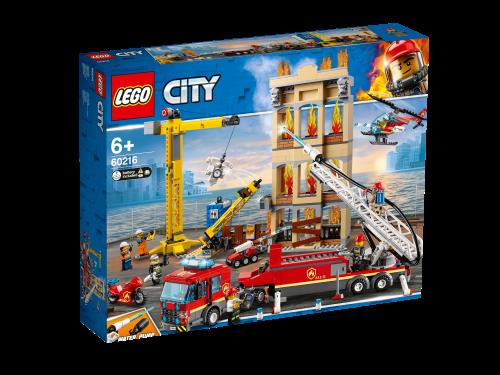 LEGO City Downtown Fire Brigade Crane Truck Copter Set 60216