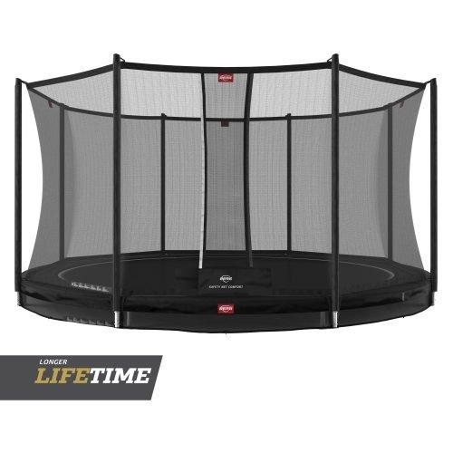 BERG Favorit InGround Trampoline with Comfort Safety Net Black Circle