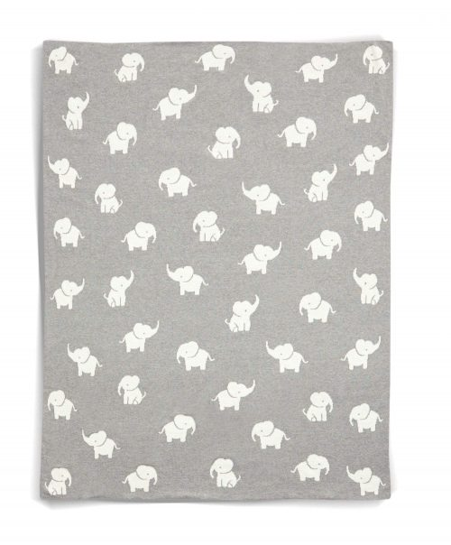 Mamas & Papas Welcome To The World Knitted Elephant Blanket - Grey