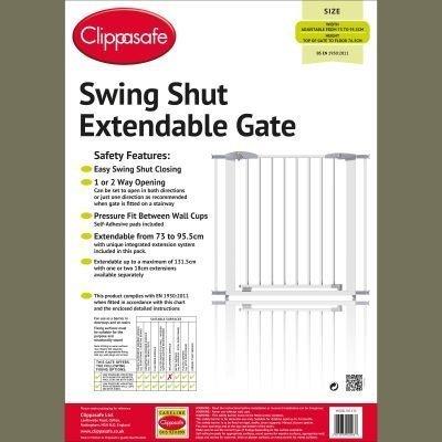 Clippasafe Swing Shut Extendable Gate (White Metal)